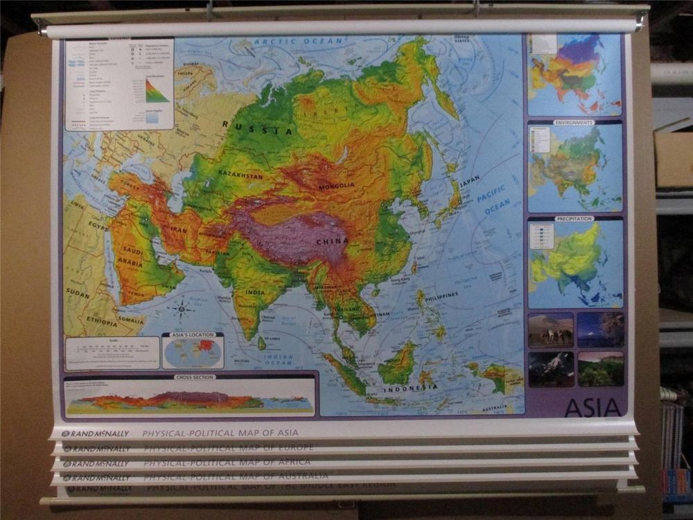 Physical Middle East Map%0A   MAP SET  ASIA AFRICA EUROPE AUSTRALIA MIDDLE EAST ALL ON ONE ROLL  NEW