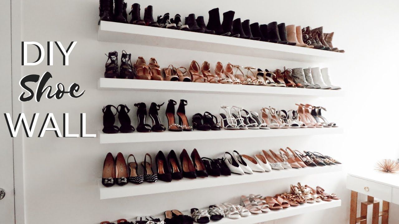 DIY SHOE STORAGE IDEA | IKEA Hack | IKEA Lack | Wall ...