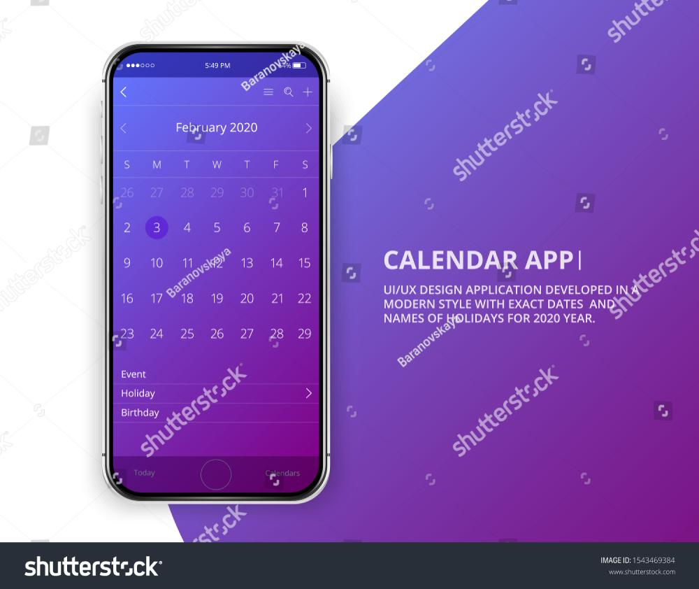 User Interface Design Mobile Calendar. Android, apple ios