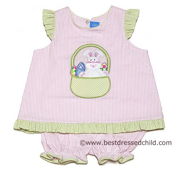 Anavini Green /& Pink Chevron Bunny Dress 5