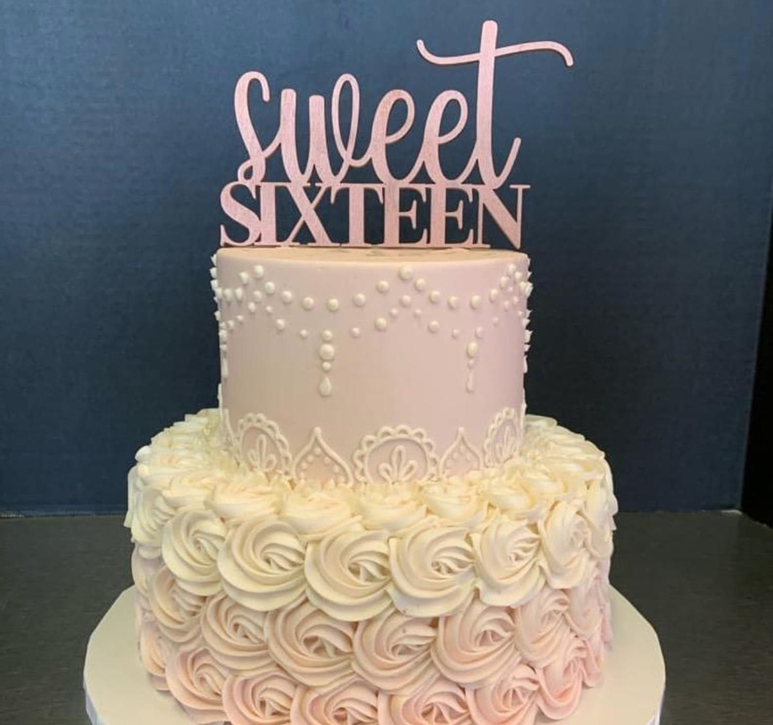 Sweet Sixteen Birthday Cake Topper Rustic Party Decor
