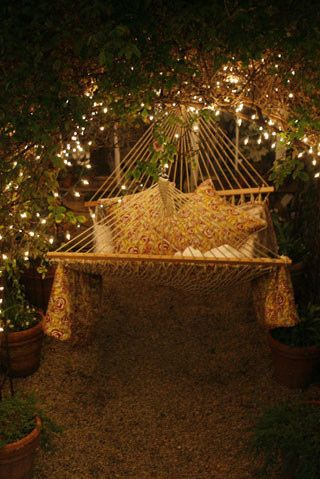 backyard, fairy lights, hammock, home, house, inspiration