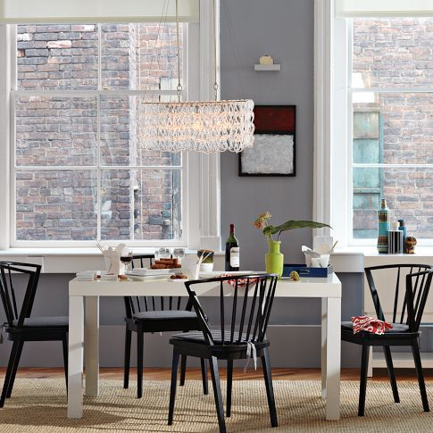 White Lacquered Finish Parsons Dining Table West Elm