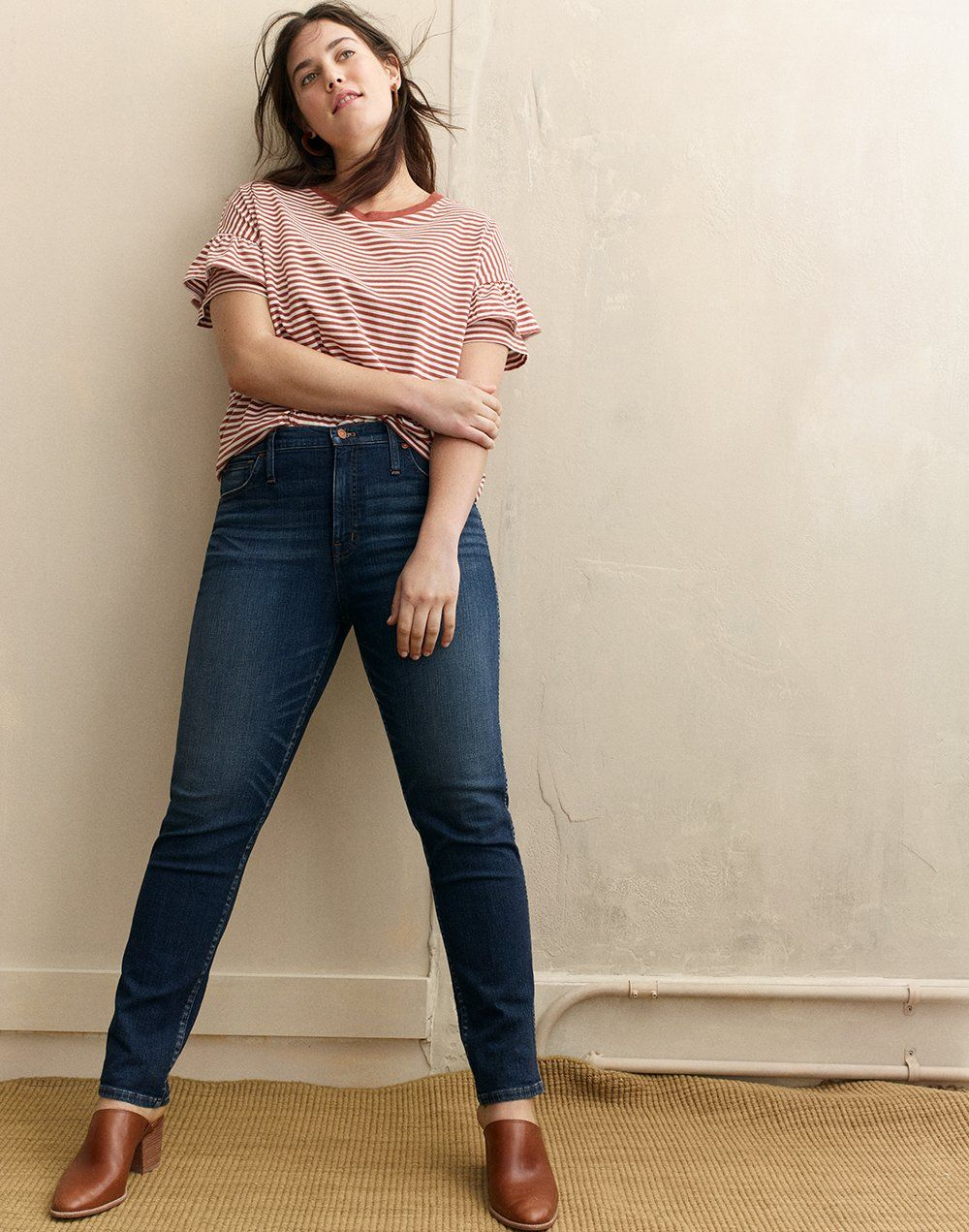 04c3ec7a9a madewell slim straight jeans worn with ruffle-sleeve tee + the harper mule.