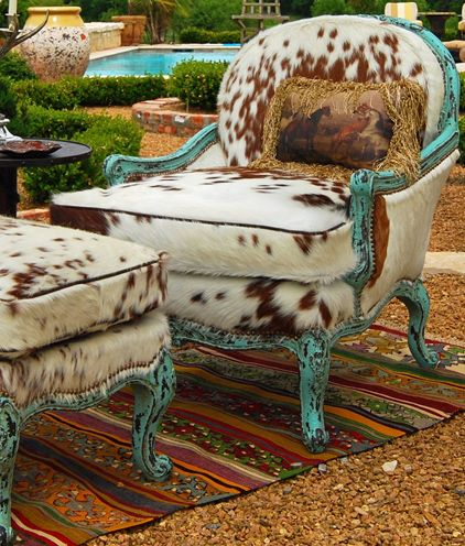 Cowhide Chair U0026 Ottoman With Turquoise    Not Into Cowhide But I Love The  Contrast In The Style Of Chair, Fabric Choice, And Color Used
