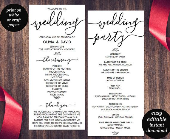 Wedding Program Template Printable Wedding Program Wedding Program