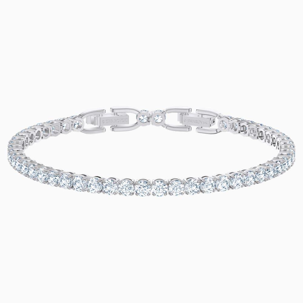 Tennis Deluxe Armband Weiss Rhodiniert Von Swarovski In 2020 Prong Set Stones Rhodium Plated Swarovski Gifts