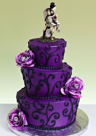 Purple Halloween Cake Goth Gothic Wedding Handfasting Cakes