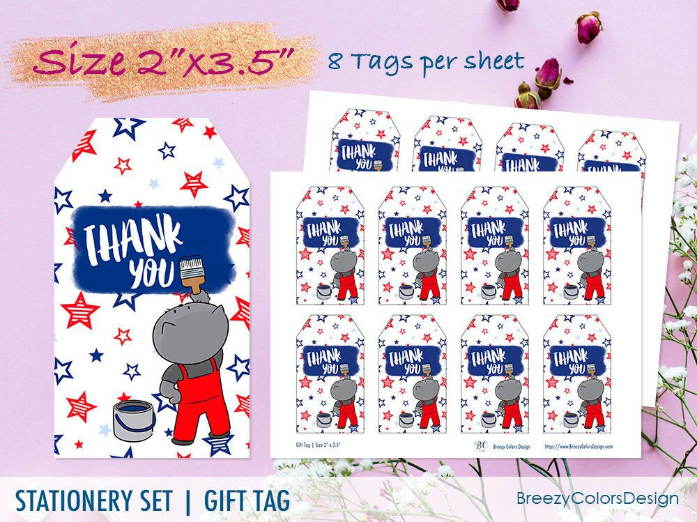 labor day card thank you gift tag usa party printable