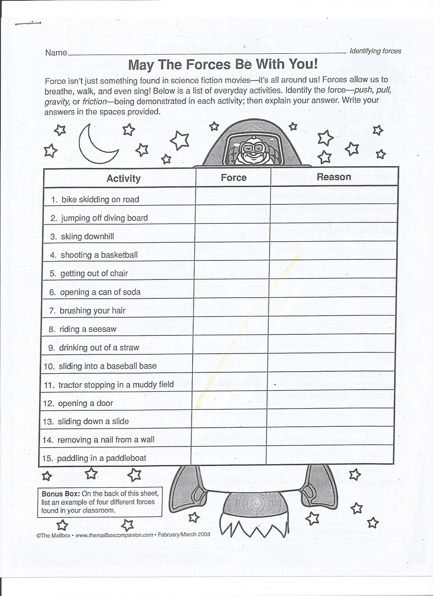 Force And Motion Printable Worksheets Gravity Worksheet