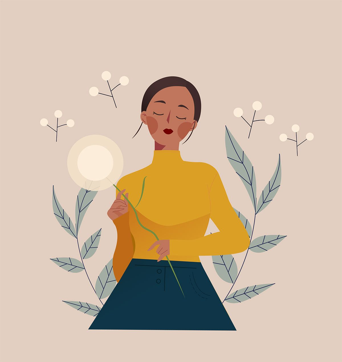 Serenity Illustration Series on Behance  #dandelionillustration #womanillustration #vectorillustration #elegantillustration #minimalist #poc #blackwoman