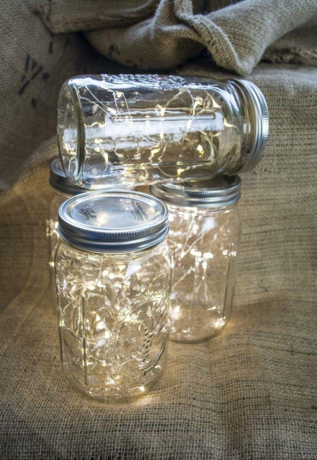 Einweckgläser Dekorieren Lichterkette Led Beleuchtung Idee Romantisch
