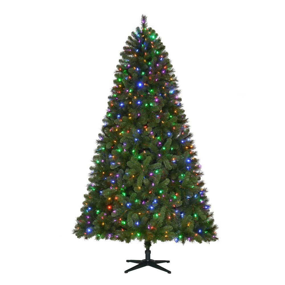 Artificial Christmas Tree Sale Home Depot: Home Accents Holiday 7.5 Ft. Pre-Lit LED Wesley Spruce