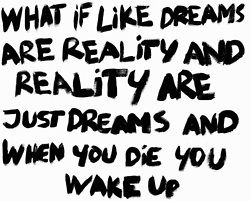 What if like dreams are reality and reality are just dreams and when you die you wake up.