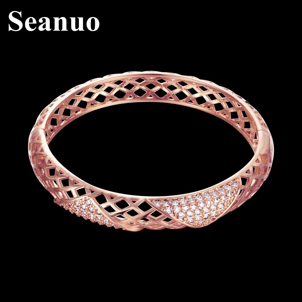 Seanuo highquality rose gold color full austrian crystal women