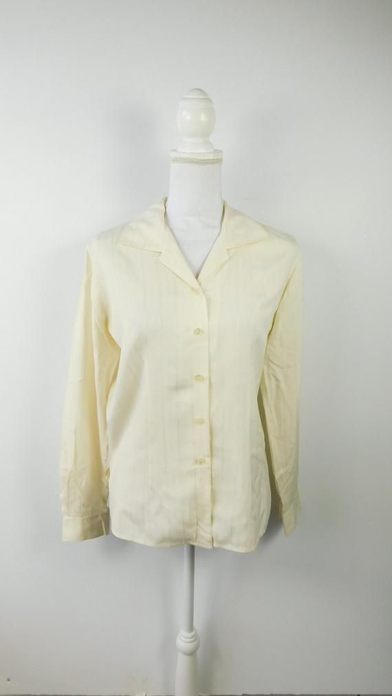1d2025ef Vintage 1980s 80s Lizwear Olive Green Silk Minimal Button Down Pocket Long  Sleeve Collared Blouse To
