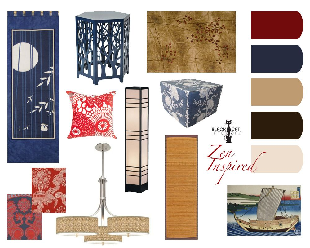 Concept board for a Zen inspired living and dining room Favorite
