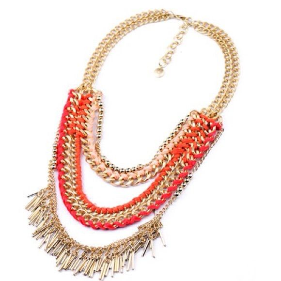Brand New Mulit-Layered Knit & Tassel Necklace This statement necklace is brand new and the combination of color, texture and metal makes his the perfect piece to dress up a tee or sundress this season. Jewelry Necklaces