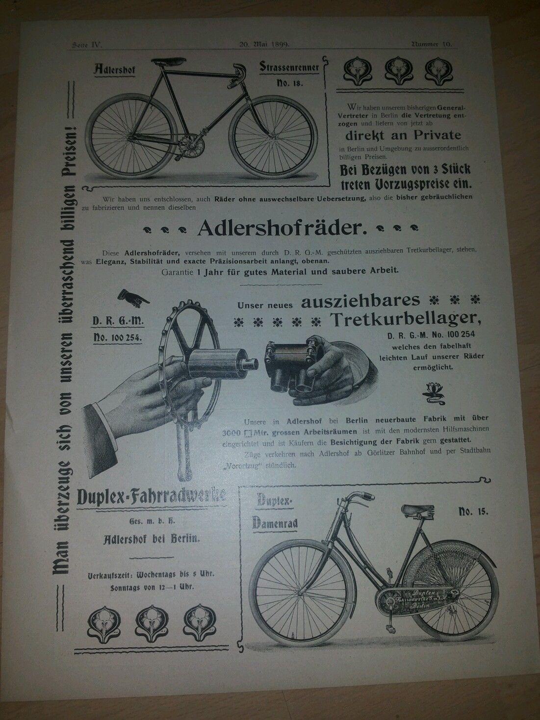 Werbung Adlershofrader Duplex Fahrradwerke Adlershof Berlin Aus