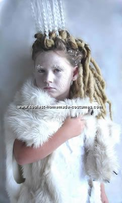 Homemade White Witch from Narnia Costume I made this costume for my 7 year old daughter. I made the dress from a bed sheet blue spray paint and 1 yard of ...  sc 1 st  Pinterest & Coolest White Witch from Narnia Costume | Pinterest | Narnia ...