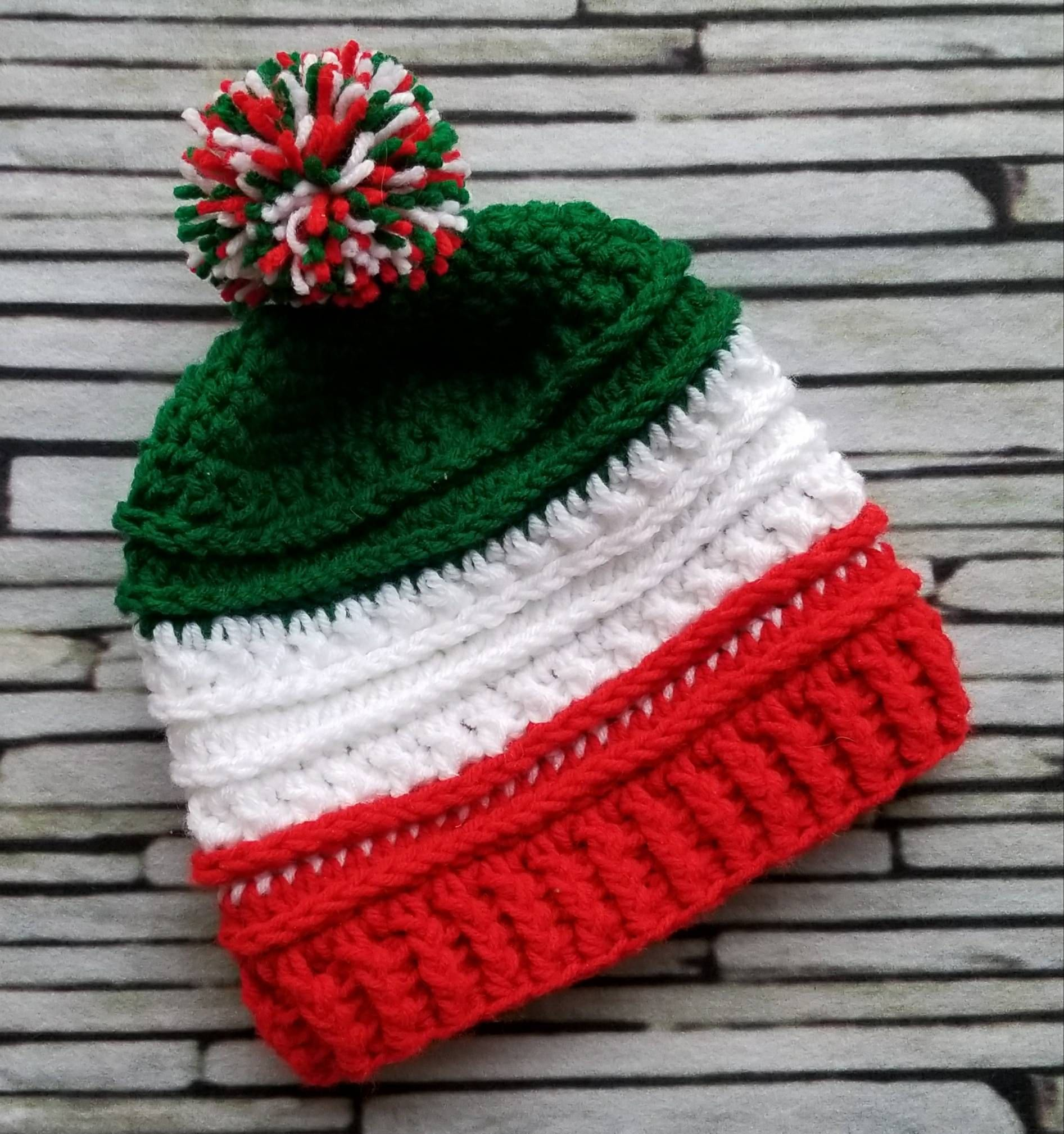 f36bef63bc6 Italian Flag Hat - Italy - Olympics beanie -striped country color hat -  green white red - crochet beanie - support your team - winter by  HookedByAmanda on ...