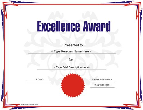 Education Certificate   Award Certificate Template For Excellece |  CertificateStreet.com  Academic Certificate Templates Free