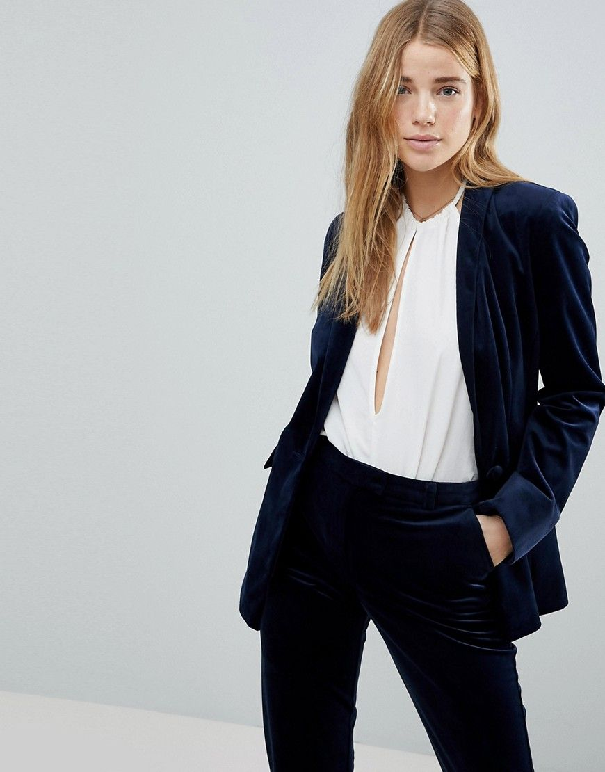 Navy Velvet Blazer for young women on a budget, trendy work clothes for  women, affordable trendy work clothes for women