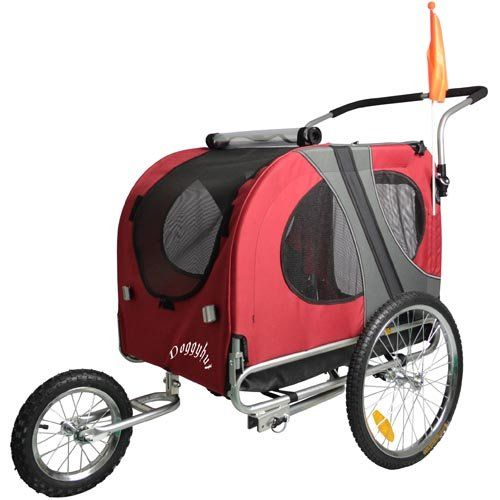 Doggyhut Large Pet Dog Bicycle Trailer Jogger Stroller In Red