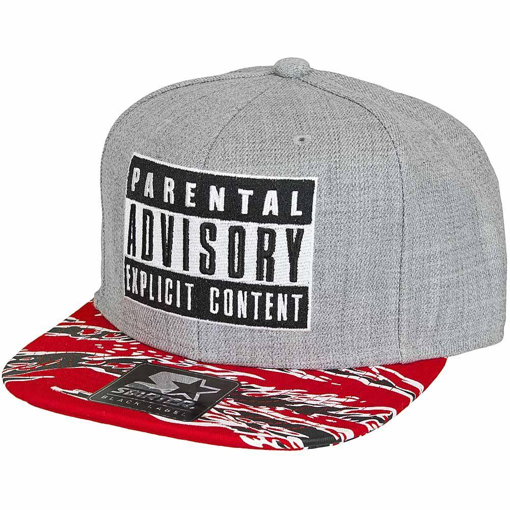 Parental Advisory Starter Snapback Cap Pa017 Grau Rot Snapback Cap New Era Cap Cap