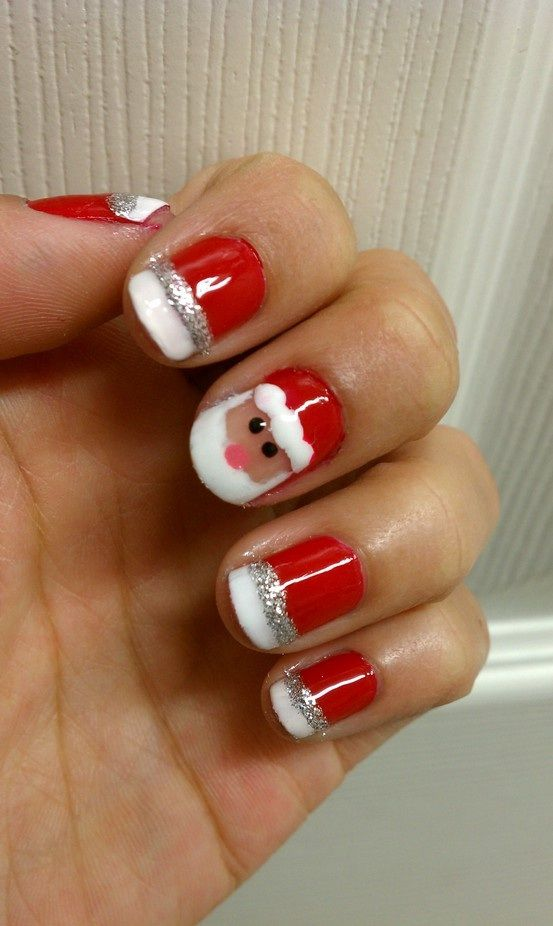 I Don T Really Care Much For The Santa Face But I Like This Version French Manicure Santa Nails Christmas Nail Designs Christmas Nail Art Designs