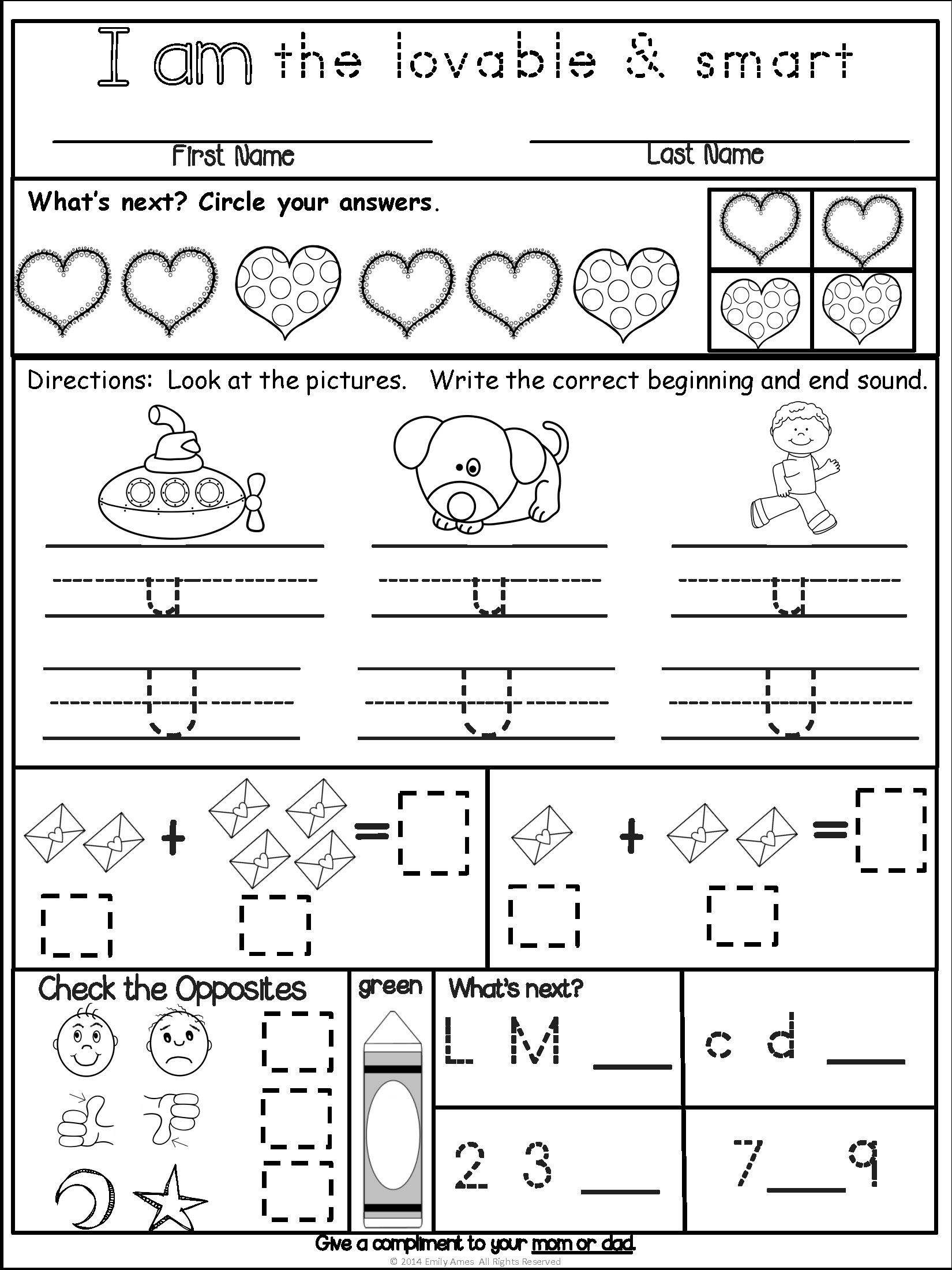 Homework: Kindergarten February Packet (Differentiated ...