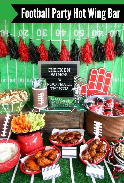 Football Party Hot Wing Bar #footballpartyfood