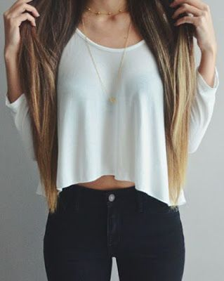 Casual look | Ombre hair, subtle necklace, loose white shirt and black pants