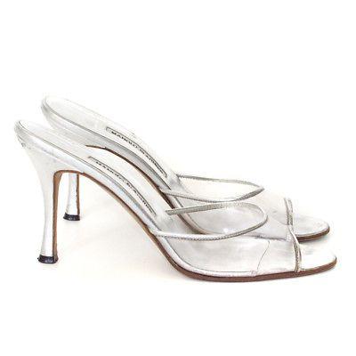 ad27f6183276b5 Manolo Blahnik Clear PVC Silver Metallic Slides Sandals High Heels sz 39.5