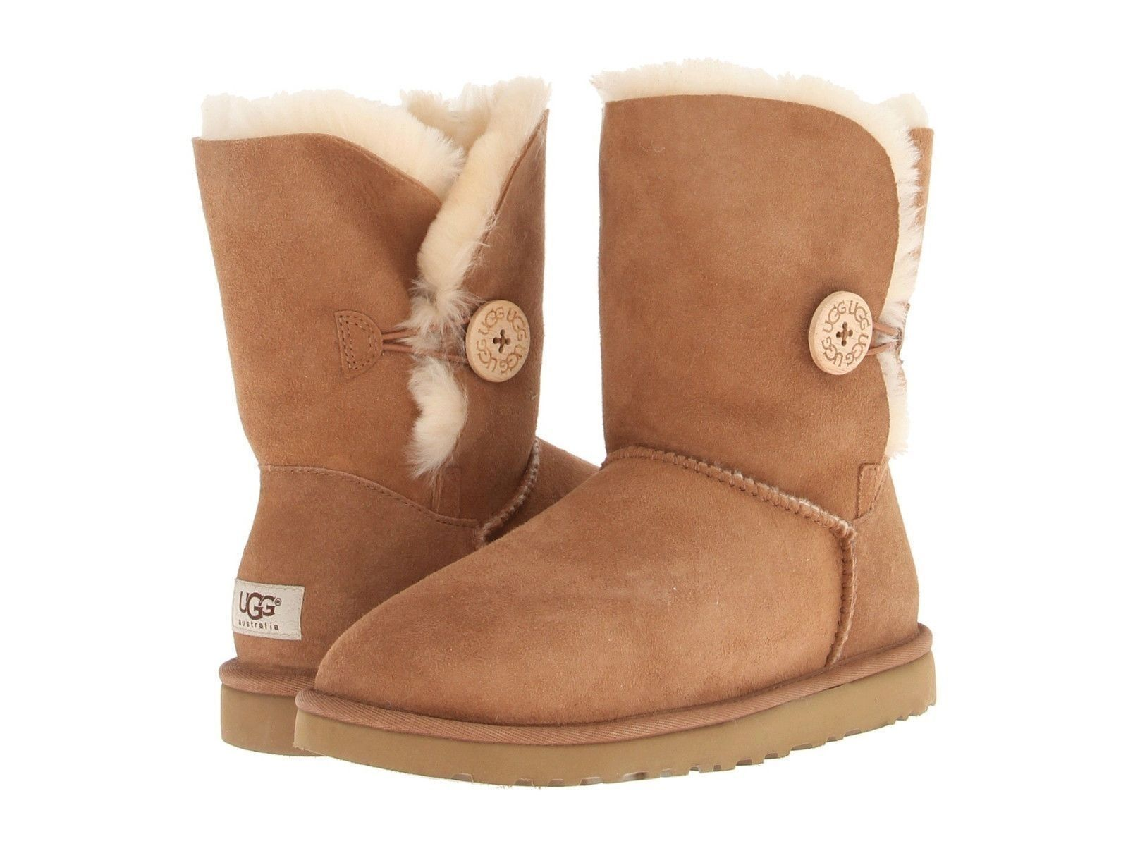 660146a71fb Details about UGG Classic Short Bailey Button Chestnut Suede ...