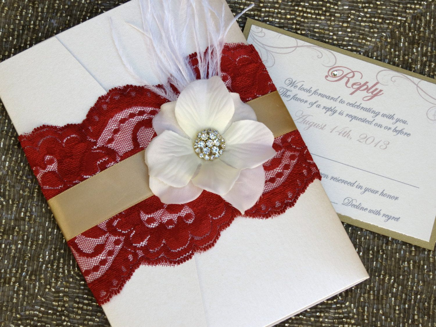 VINTAGE GLAMOUR: Deep Red and Gold Lace Pocketfold Wedding ...