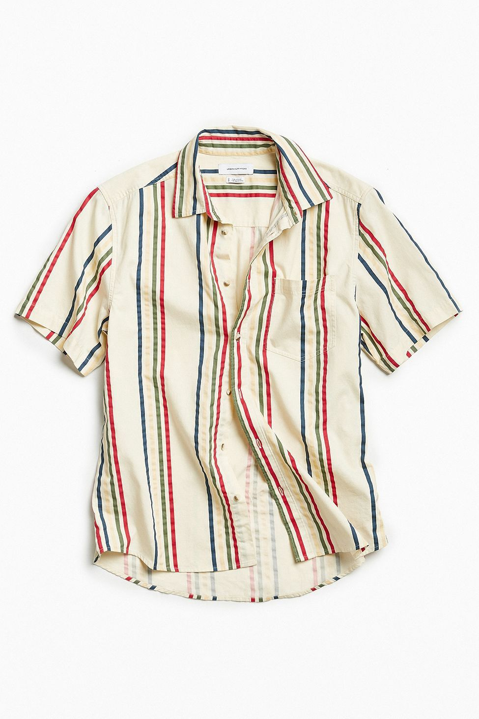 b72b0ae388 Urban Outfitters Uo '90S Vertical Stripe Short Sleeve Button-Down Shirt -  Dark Green Xs