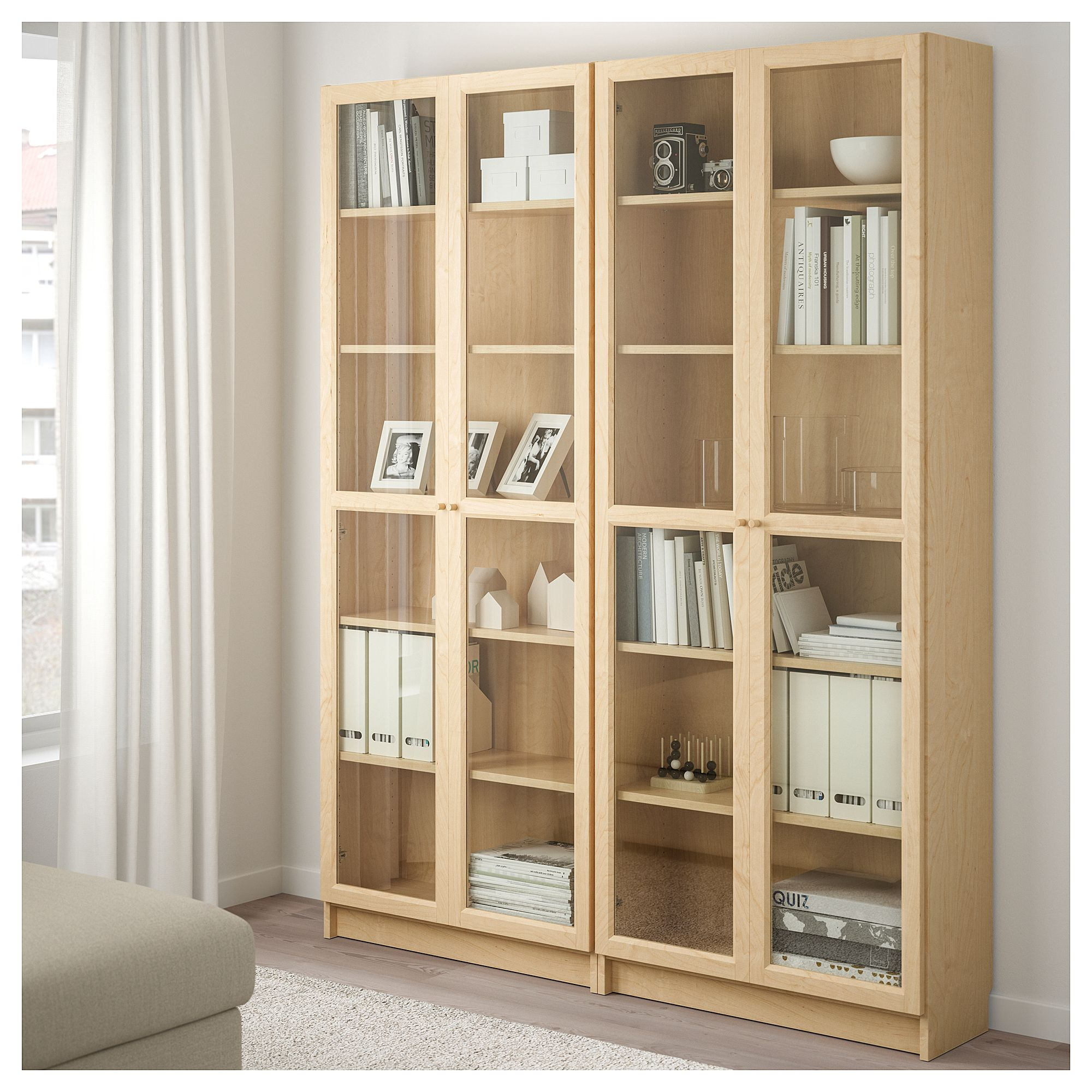 IKEA BILLY / OXBERG Bookcase birch veneer, glass
