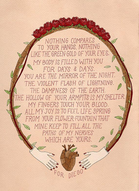 Poema De Diego Rivera A Frida Kahlo Frida Kahlo Love Letter Love Print Frida Quotes Frida Kahlo