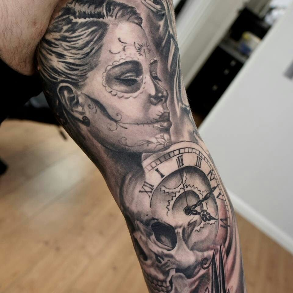 8da4d67017329 Day of the dead tattoo. Skull and clock. | tattoo | Day of the dead ...