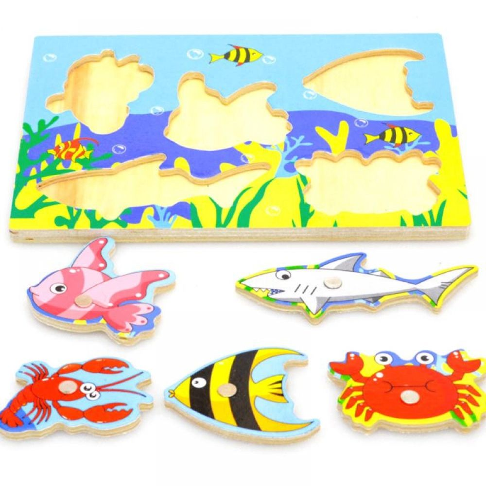 3D Jigsaw Puzzle Board Wooden Educational Toy Baby Kids Magnetic Fishing Game