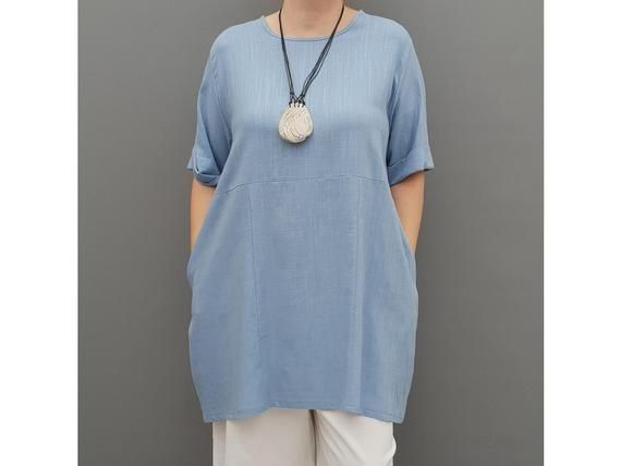 Linen Tunic Summer Top Loose Lagenlook Blouse Short Sleeve Plus Size   [l1064_blue] #linentunic
