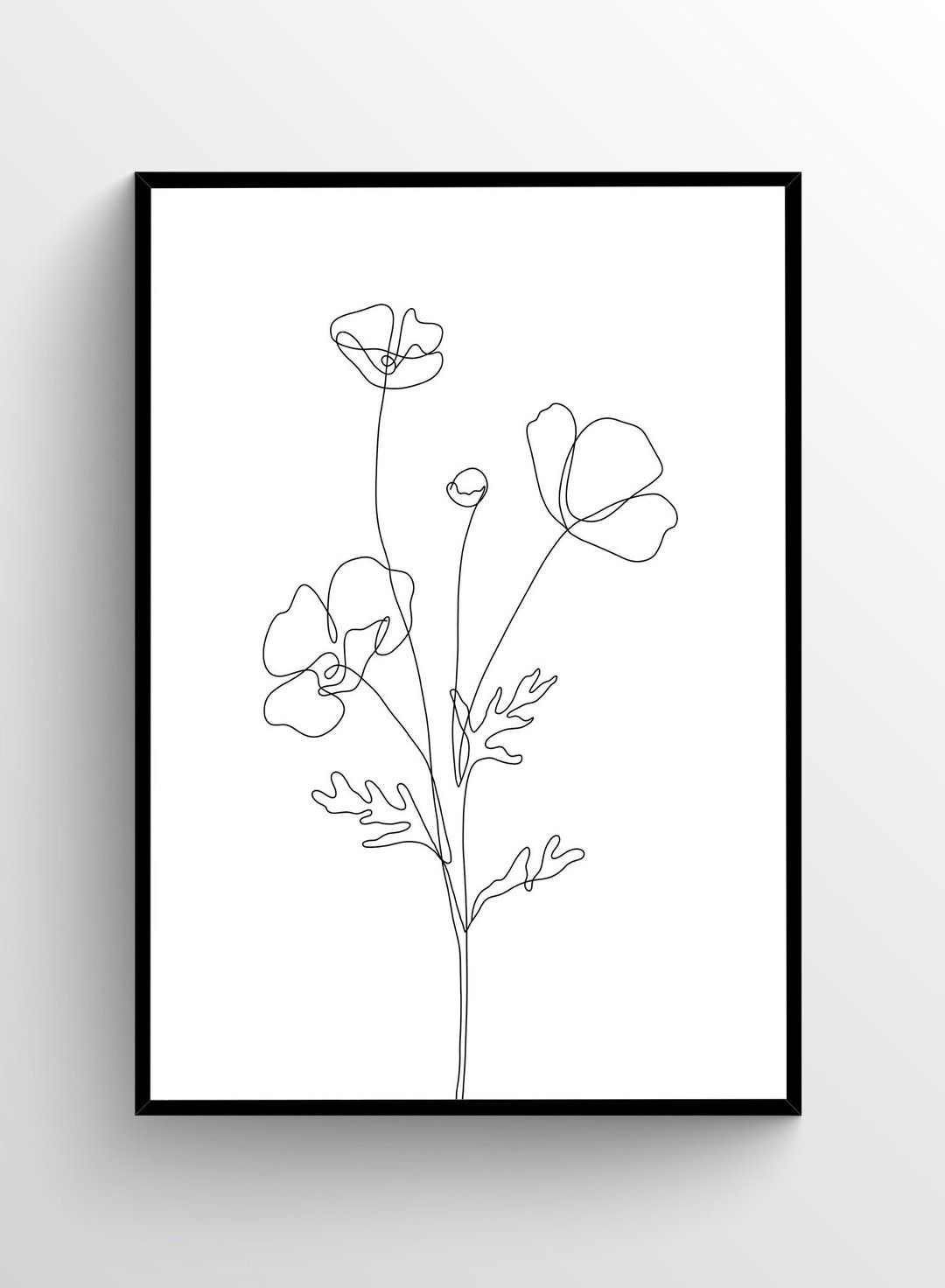 Poppy Sketch, Poster in 20   Line art flowers, Flower line ...