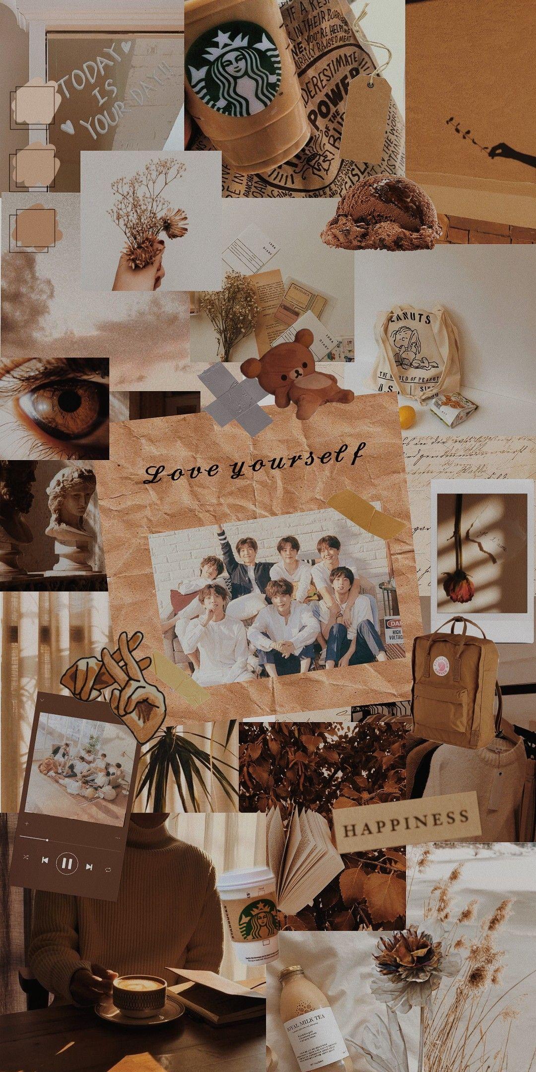 Bts Aesthetic Wallpaper Brown Taehyung Jungkook Rm Suga Jin