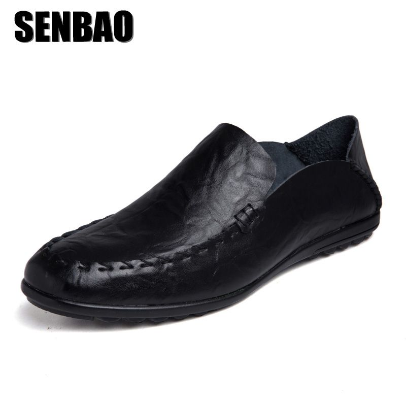SENBAO Men Loafers Genuine Leather Casual Shoes 2018 New Slip on Men Flats  Masculino Adulto Handmade Moccasin Driving Shoes 9dbf8b4d4428