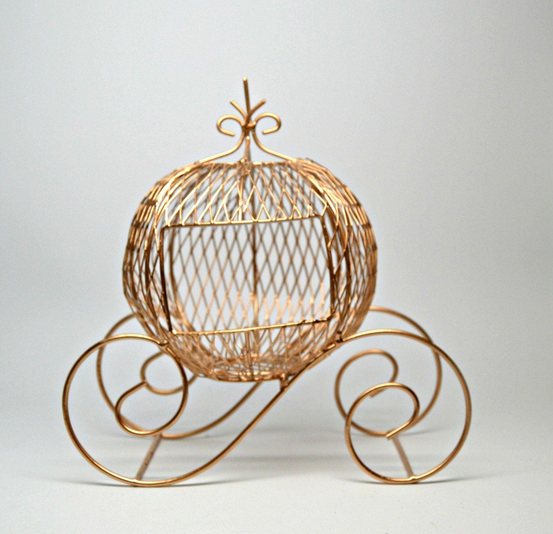 Wire Cinderella Coach, Gold Cinderella Coach, Wedding Centerpiece ...