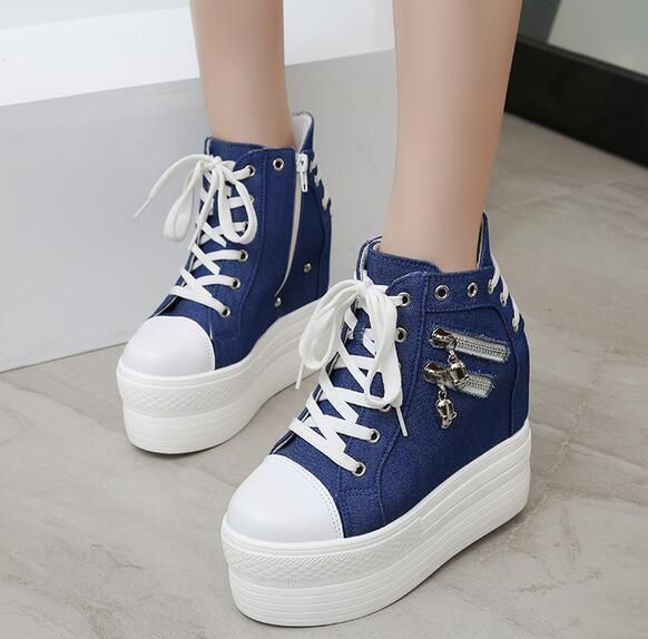 07a5b0ad9bcf56 Women S Platform Lace Up Sneakers Hidden Wedge Heel Denim Canvas High Top  Shoes