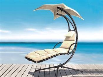 $349.99 Suntime Helicopter Swing Hammock - Our uniquely styled and designed Helicopter Swing Hammock will look great in any backyard, on the patio or at the poolside and allows you to float in comfort on the suspended Textilene hammock base. Extremely sturdy, the chair is supported on a powder coated, weather-resistant steel frame. The full length, easy-clean cushion, lies on a robust supporting textilene hammock base, ensuring support and comfort.