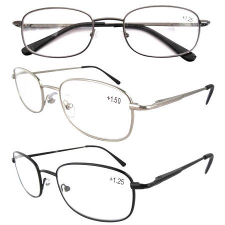 1426a6c9f9a Eyekepper Spring Hinged Reading Glasses 3 Pair Metal Readers +3.5 ...