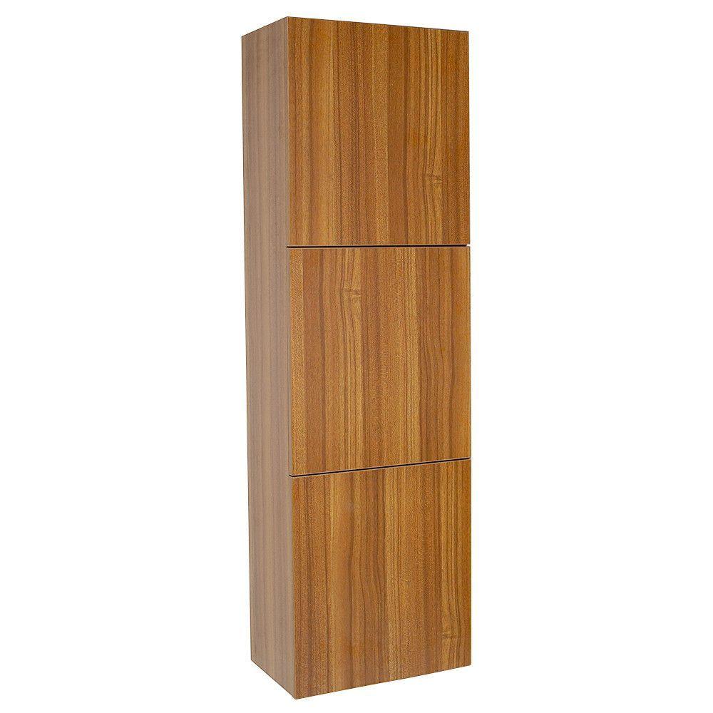 Fresca Teak Bathroom Linen Side Cabinet W Large Storage Areas - Teak bathroom cabinet storage